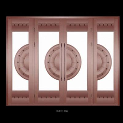 辉乐豪玻璃铜门效果图