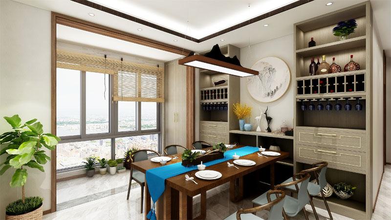 艺龙新中式平仄风餐厅酒柜